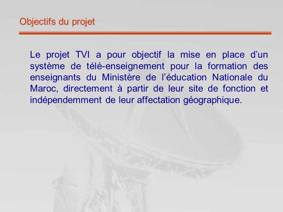Objectifs du projet Le projet TVI a pour objectif la mise en place dun système de télé-enseignement pour la formation des enseignants du Ministère de