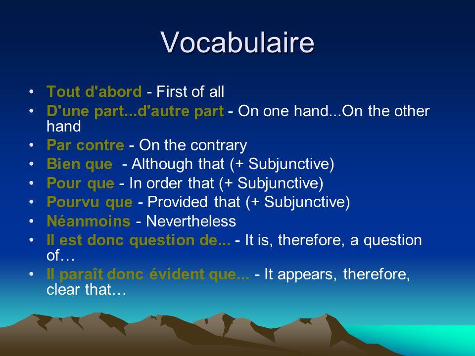 Vocabulaire Tout d'abord - First of all D'une part...d'autre part - On one hand...On the other hand Par contre - On the contrary Bien que - Although t