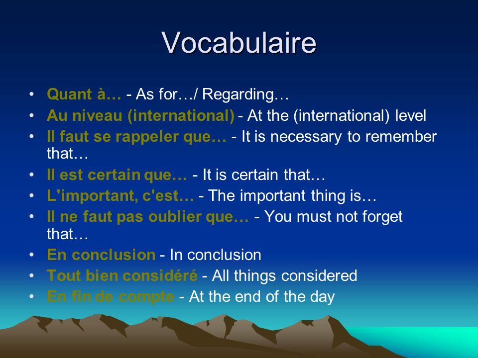 Vocabulaire Quant à… - As for…/ Regarding… Au niveau (international) - At the (international) level Il faut se rappeler que… - It is necessary to reme