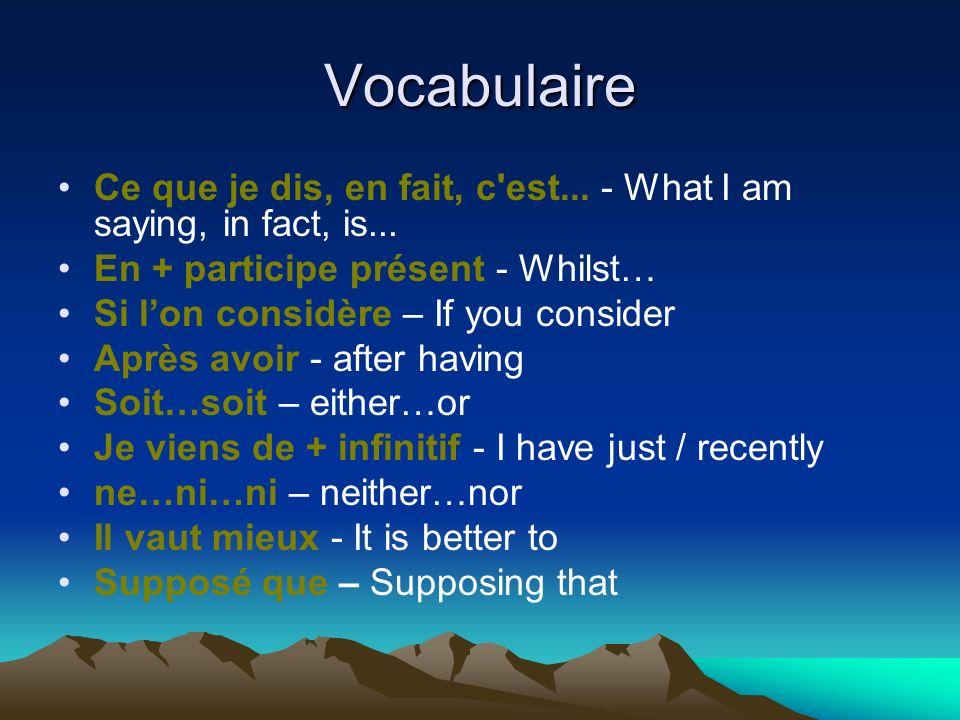 Vocabulaire Ce que je dis, en fait, c'est... - What I am saying, in fact, is... En + participe présent - Whilst… Si lon considère – If you consider Ap