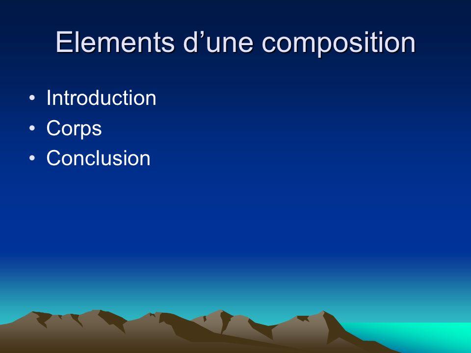 Elements dune composition Introduction Corps Conclusion