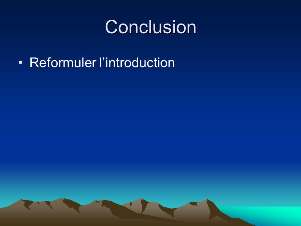 Conclusion Reformuler lintroduction