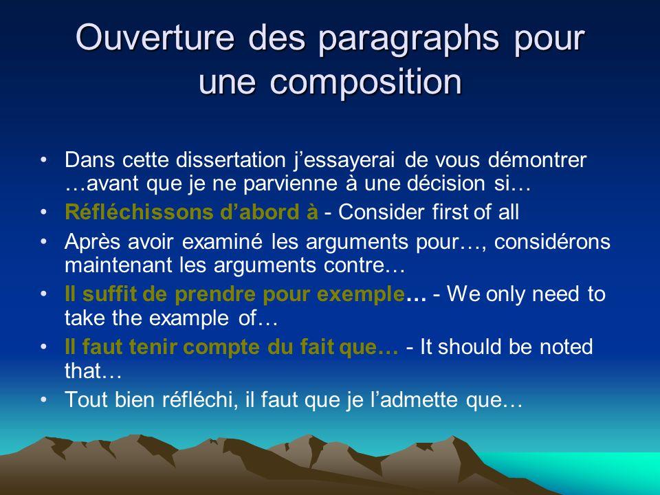 Ouverture des paragraphs pour une composition Dans cette dissertation jessayerai de vous démontrer …avant que je ne parvienne à une décision si… Réflé