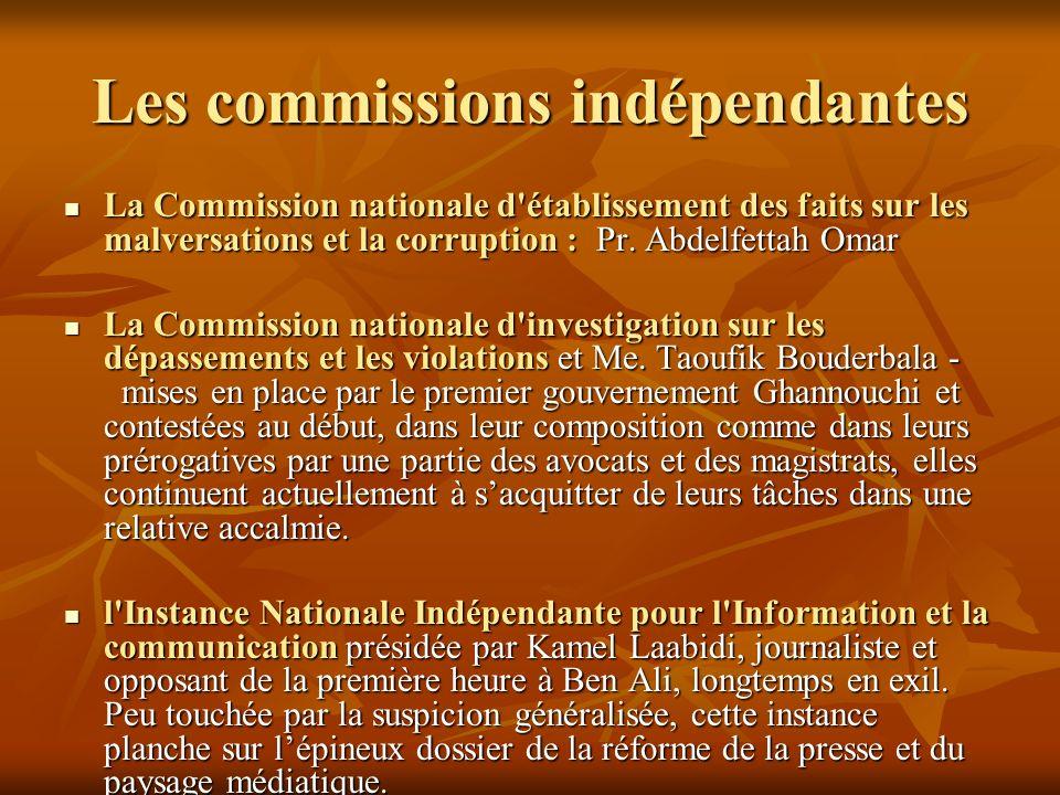 Les commissions indépendantes La Commission nationale d'établissement des faits sur les malversations et la corruption : Pr. Abdelfettah Omar La Commi