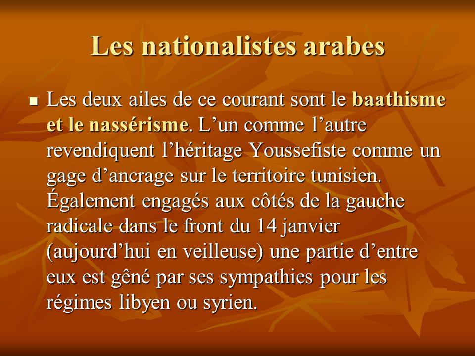 Les nationalistes arabes Les deux ailes de ce courant sont le baathisme et le nassérisme. Lun comme lautre revendiquent lhéritage Youssefiste comme un