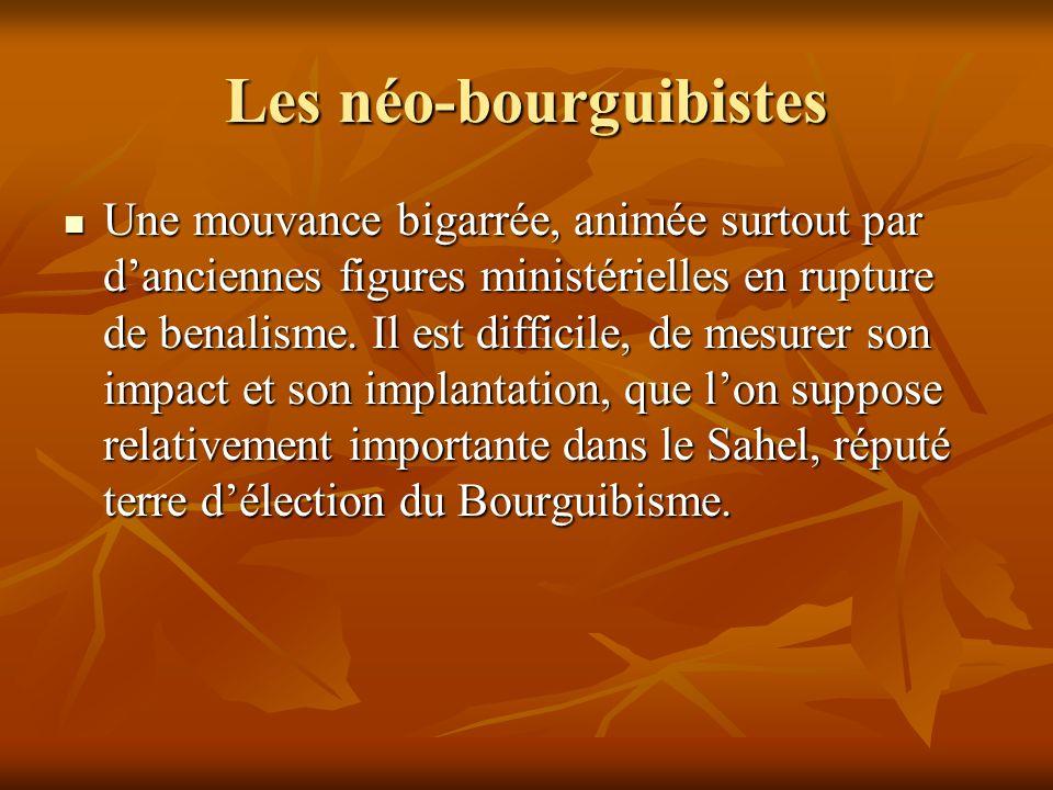 Les néo-bourguibistes Une mouvance bigarrée, animée surtout par danciennes figures ministérielles en rupture de benalisme. Il est difficile, de mesure