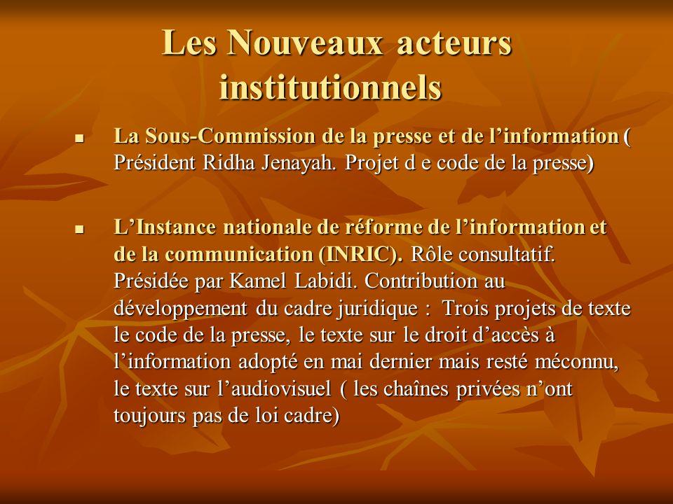 Les Nouveaux acteurs institutionnels Les Nouveaux acteurs institutionnels La Sous-Commission de la presse et de linformation ( Président Ridha Jenayah