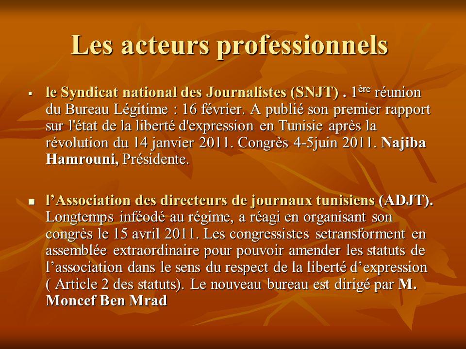 Les acteurs professionnels Les acteurs professionnels le Syndicat national des Journalistes (SNJT). 1 ère réunion du Bureau Légitime : 16 février. A p