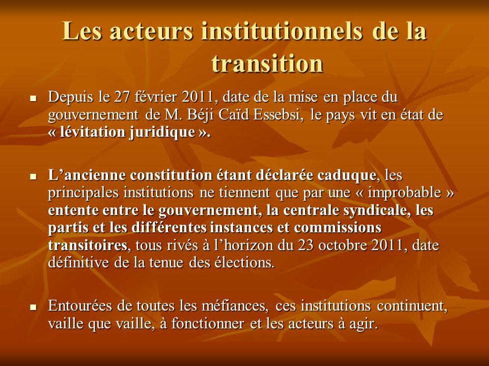 Les acteurs institutionnels de la transition Depuis le 27 février 2011, date de la mise en place du gouvernement de M. Béji Caïd Essebsi, le pays vit