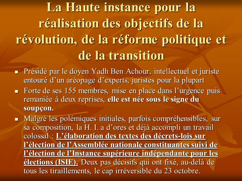 La Haute instance pour la réalisation des objectifs de la révolution, de la réforme politique et de la transition Présidé par le doyen Yadh Ben Achour