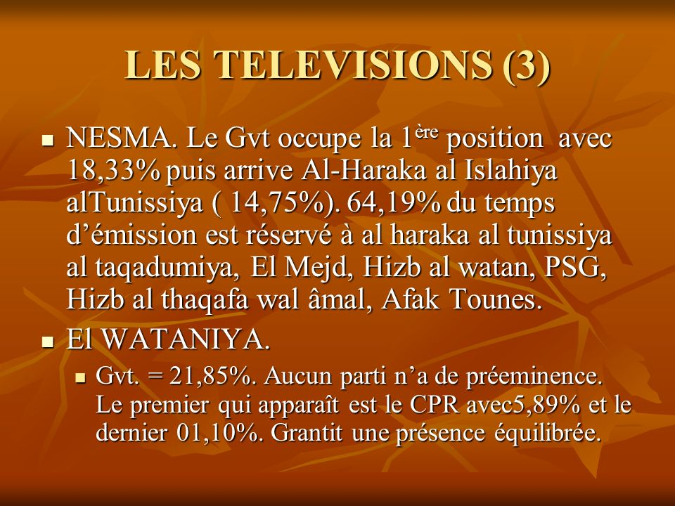 LES TELEVISIONS (3) NESMA. Le Gvt occupe la 1 ère position avec 18,33% puis arrive Al-Haraka al Islahiya alTunissiya ( 14,75%). 64,19% du temps démiss