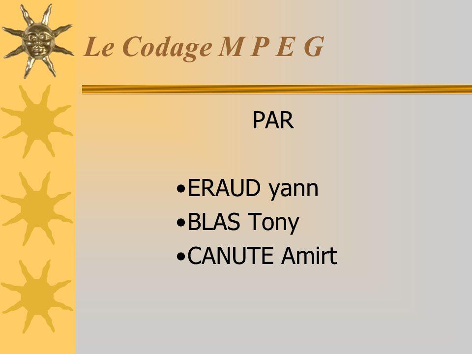 PAR ERAUD yann BLAS Tony CANUTE Amirt Le Codage M P E G