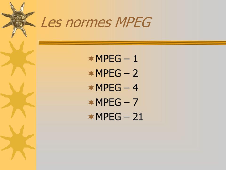 Les normes MPEG MPEG – 1 MPEG – 2 MPEG – 4 MPEG – 7 MPEG – 21