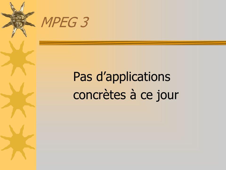 MPEG 3 Pas dapplications concrètes à ce jour