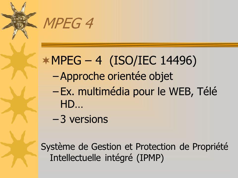 MPEG 4 MPEG – 4 (ISO/IEC 14496) –Approche orientée objet –Ex. multimédia pour le WEB, Télé HD… –3 versions Système de Gestion et Protection de Proprié