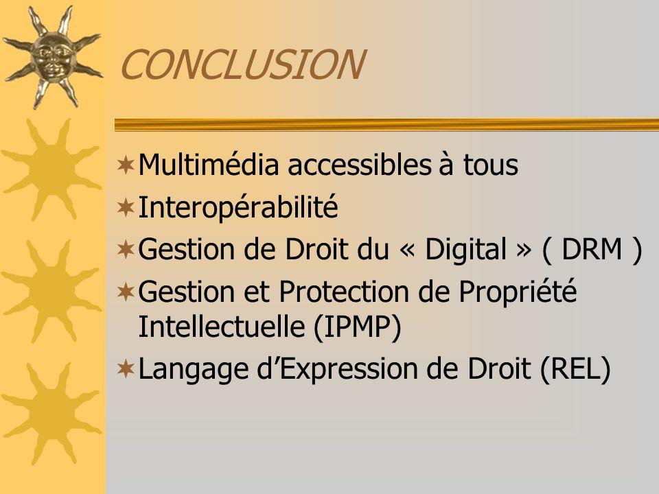 CONCLUSION Multimédia accessibles à tous Interopérabilité Gestion de Droit du « Digital » ( DRM ) Gestion et Protection de Propriété Intellectuelle (I