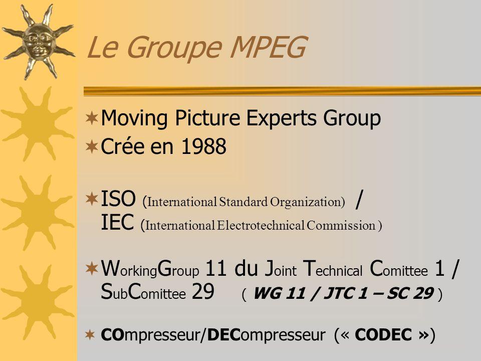 Utilisation MPEG-1 –MP3, VCD, S-VCD (en Chine) MPEG-2 –DVD, Télévision Numérique, décodeurs « satellites » MPEG-4 –MOVIDA ( Pour Internet fixe et mobile ) –TVHD LES DERIVES du MPEG 4 –WMV, DivX, XviD, 3iVX, VP3