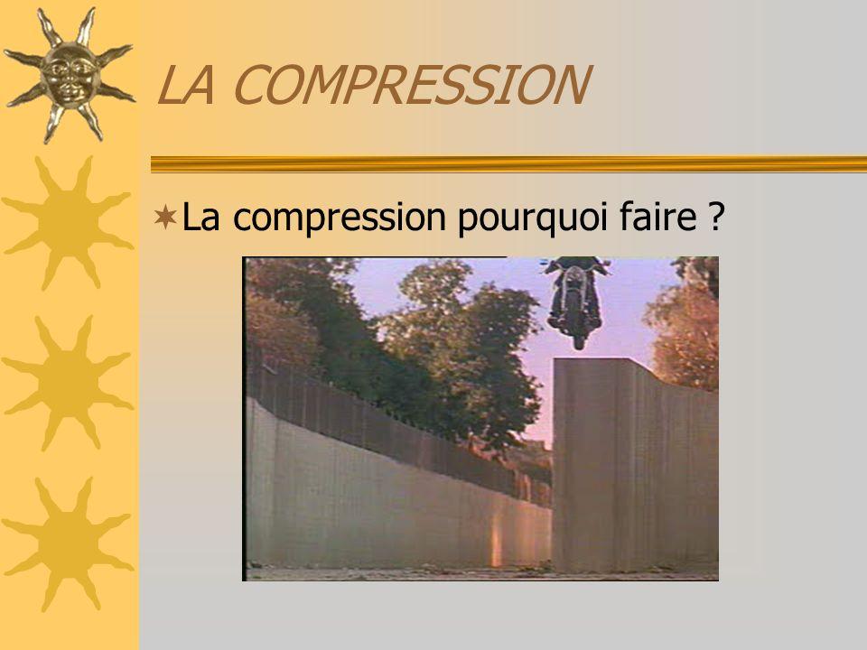 LA COMPRESSION Un exemple : –Volume dun image PAL: 720 x 576 pixels dont les couleurs sont codées sur 12 bits et à 25 images/s … soit 720 x 576 x 12 x 25 = 124 416 000 bits/s ou 14.8 Mo/s .