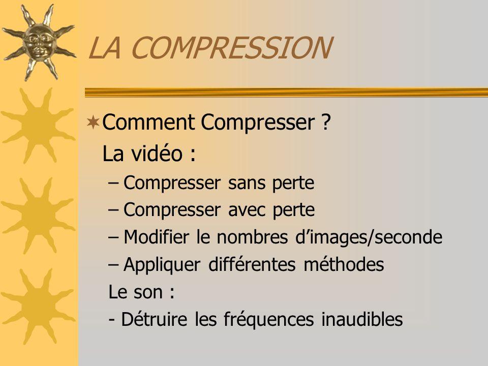 LA COMPRESSION Les différentes méthodes –La compression spatiale –La compression temporelle –La compression fractale