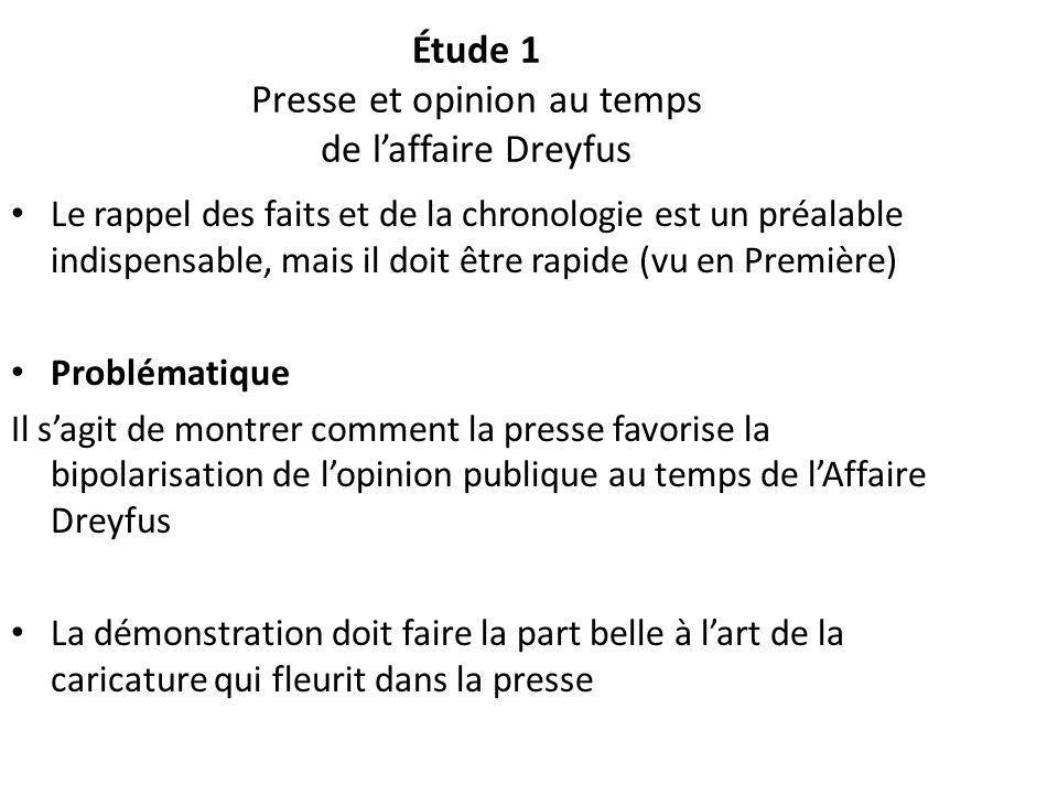 Étude 1 Presse et opinion au temps de laffaire Dreyfus Le rappel des faits et de la chronologie est un préalable indispensable, mais il doit être rapi