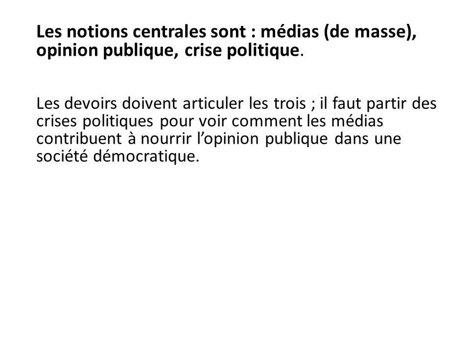 Les notions centrales sont : médias (de masse), opinion publique, crise politique. Les devoirs doivent articuler les trois ; il faut partir des crises