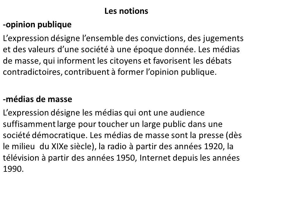 Les notions -opinion publique Lexpression désigne lensemble des convictions, des jugements et des valeurs dune société à une époque donnée. Les médias