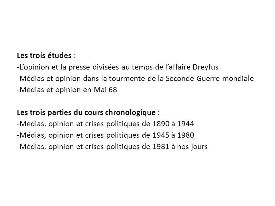 Les trois études : -Lopinion et la presse divisées au temps de laffaire Dreyfus -Médias et opinion dans la tourmente de la Seconde Guerre mondiale -Mé