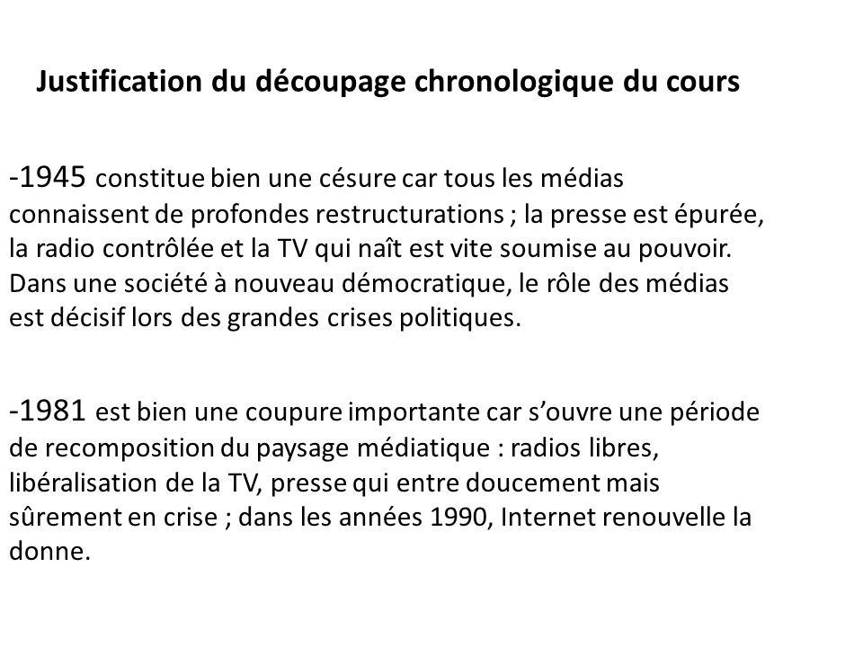 Justification du découpage chronologique du cours -1945 constitue bien une césure car tous les médias connaissent de profondes restructurations ; la p