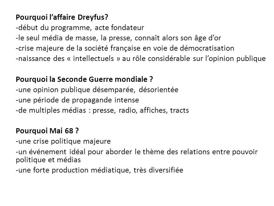 Justification du choix des études Pourquoi laffaire Dreyfus? -début du programme, acte fondateur -le seul média de masse, la presse, connaît alors son