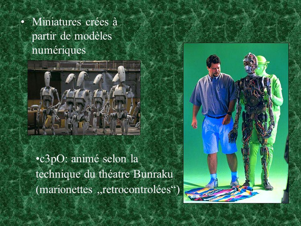 Miniatures crées à partir de modèles numériques c3pO: animé selon la technique du théatre Bunraku (marionettes retrocontrolées)