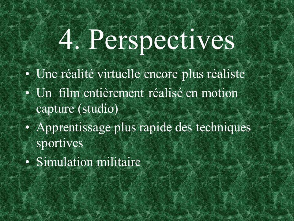 4. Perspectives Une réalité virtuelle encore plus réaliste Un film entièrement réalisé en motion capture (studio) Apprentissage plus rapide des techni