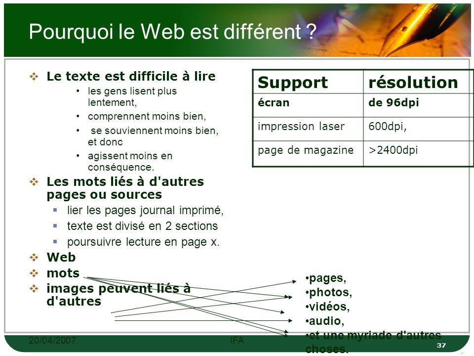 20/04/2007IFA 36 Introduction Peut-on mettre en ligne des contenus, sans les adapter à ce média particulier qu est le Web .