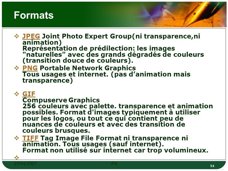 20/04/2007IFA 50 Couleurs Exemple d une image numérisée avec 16 millions de couleurs: Exemple d une image numérisée avec 256 couleurs: