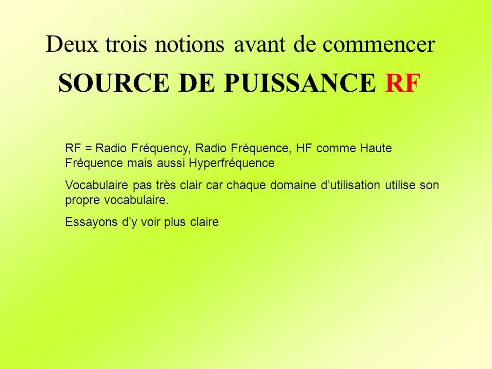 RF = Radio Fréquency, Radio Fréquence, HF comme Haute Fréquence mais aussi Hyperfréquence Vocabulaire pas très clair car chaque domaine dutilisation u