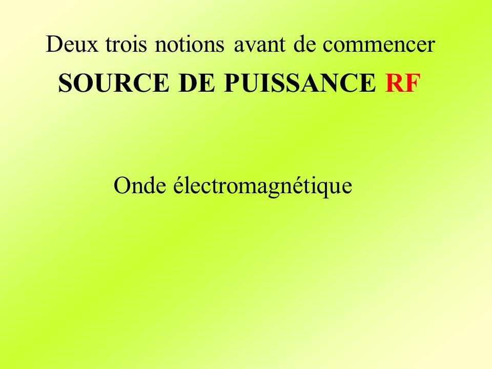 Deux trois notions avant de commencer SOURCE DE PUISSANCE RF Onde électromagnétique