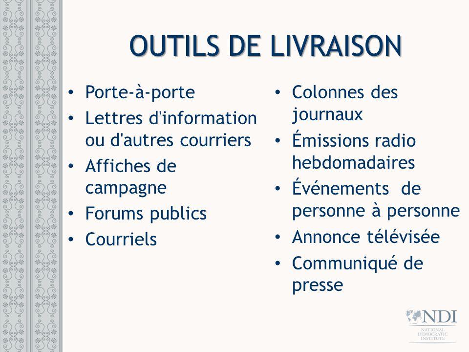 OUTILS DE LIVRAISON Quels outils de livraison.