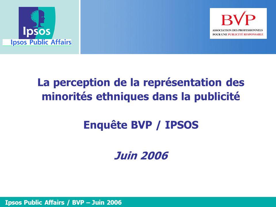 2 2 2 2 La perception de la représentation des minorités ethniques dans la publicité – Etude Ipsos Public Affairs / BVP – Juin 2006 Méthodologie SONDAGE EFFECTUE POUR : Le BVP DATES DE TERRAIN :Les 19 et 20 mai 2006.