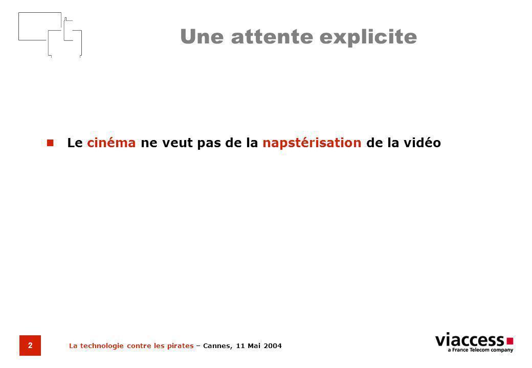 La technologie contre les pirates – Cannes, 11 Mai 2004 3 Un modèle daction clair Etendre les compétences de loffre à partir du contrôle daccès pour la télévision à péage … … vers la médiation sur les réseaux de distribution numérique à large bande.