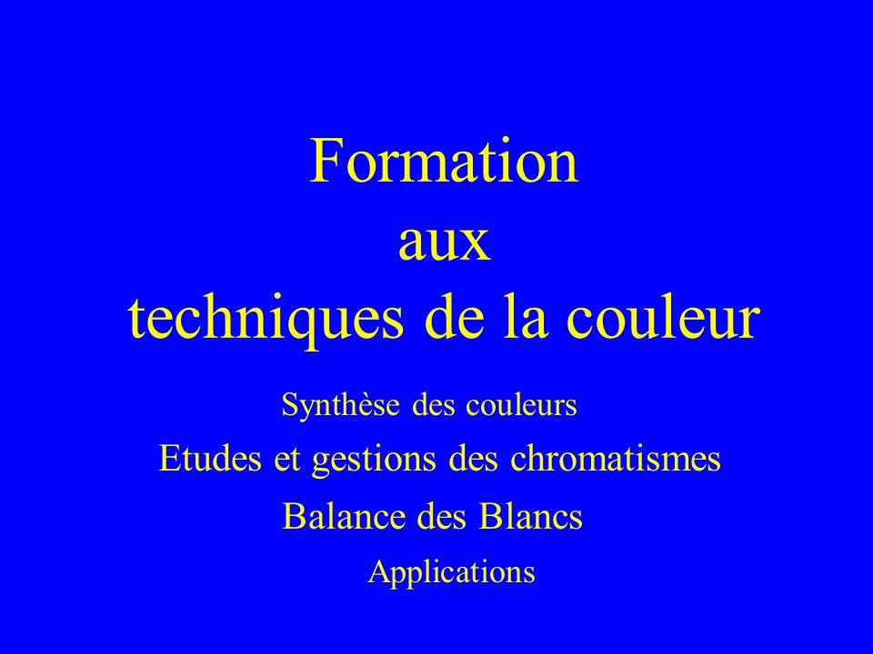 Formation aux techniques de la couleur Balance des Blancs Etudes et gestions des chromatismes Applications Synthèse des couleurs