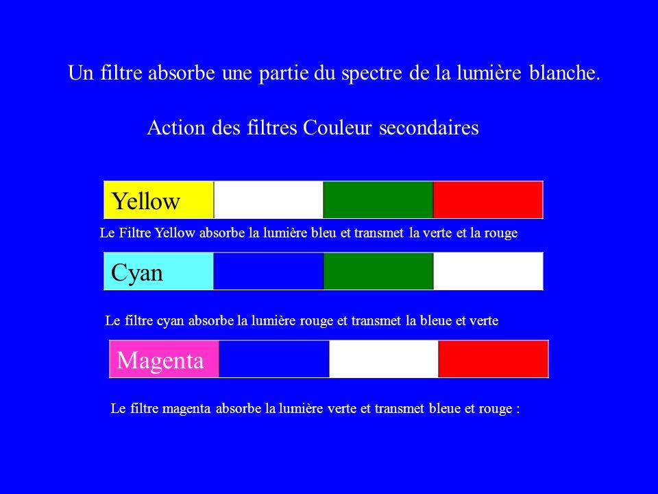 Effet des filtres secondaires Un filtre absorbe une partie du spectre de la lumière blanche. Action des filtres Couleur secondaires Yellow Le Filtre Y