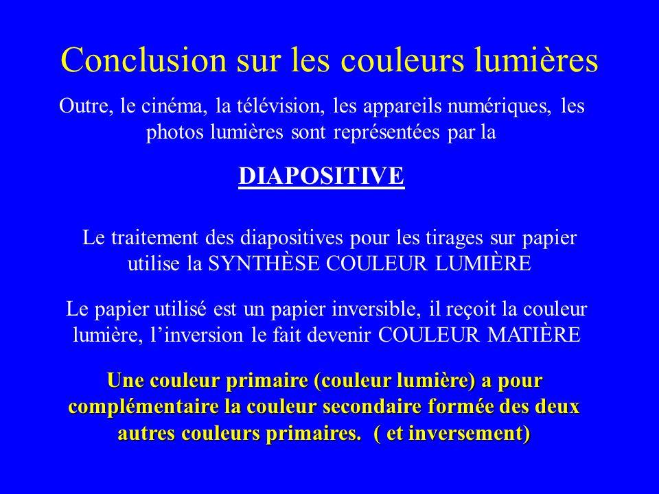 Conclusion sur les couleurs lumières Outre, le cinéma, la télévision, les appareils numériques, les photos lumières sont représentées par la DIAPOSITI