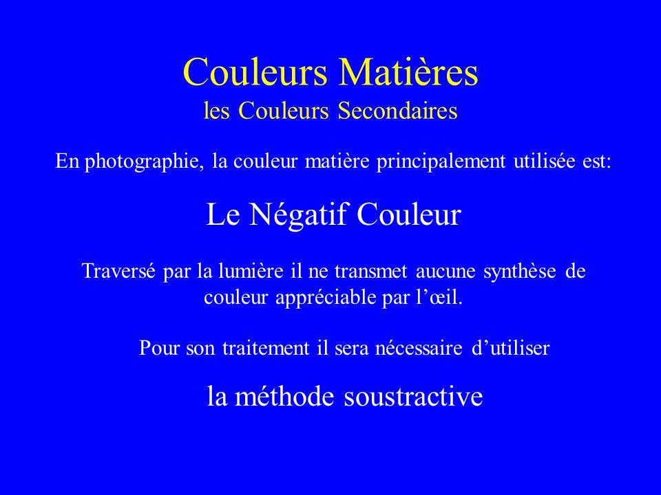 Couleurs Matières les Couleurs Secondaires En photographie, la couleur matière principalement utilisée est: Le Négatif Couleur Traversé par la lumière