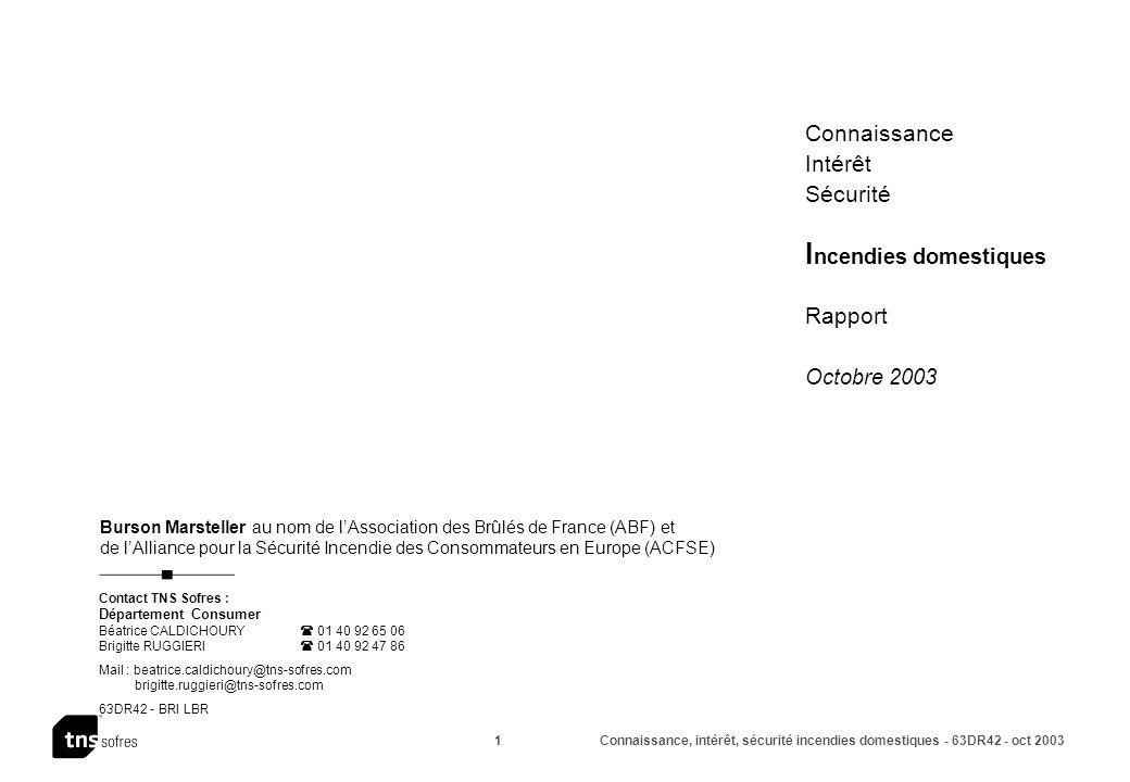 Connaissance, intérêt, sécurité incendies domestiques - 63DR42 - oct 2003 2 Sommaire