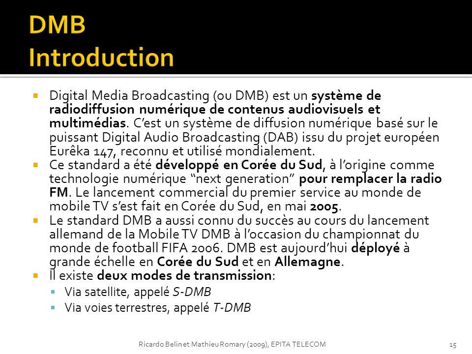 Digital Media Broadcasting (ou DMB) est un système de radiodiffusion numérique de contenus audiovisuels et multimédias. Cest un système de diffusion n