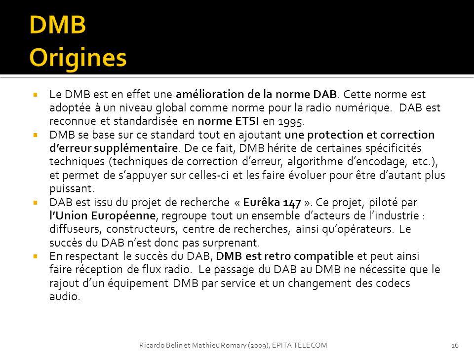 Le DMB est en effet une amélioration de la norme DAB. Cette norme est adoptée à un niveau global comme norme pour la radio numérique. DAB est reconnue