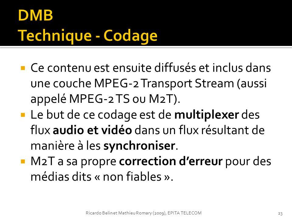 Ce contenu est ensuite diffusés et inclus dans une couche MPEG-2 Transport Stream (aussi appelé MPEG-2 TS ou M2T). Le but de ce codage est de multiple