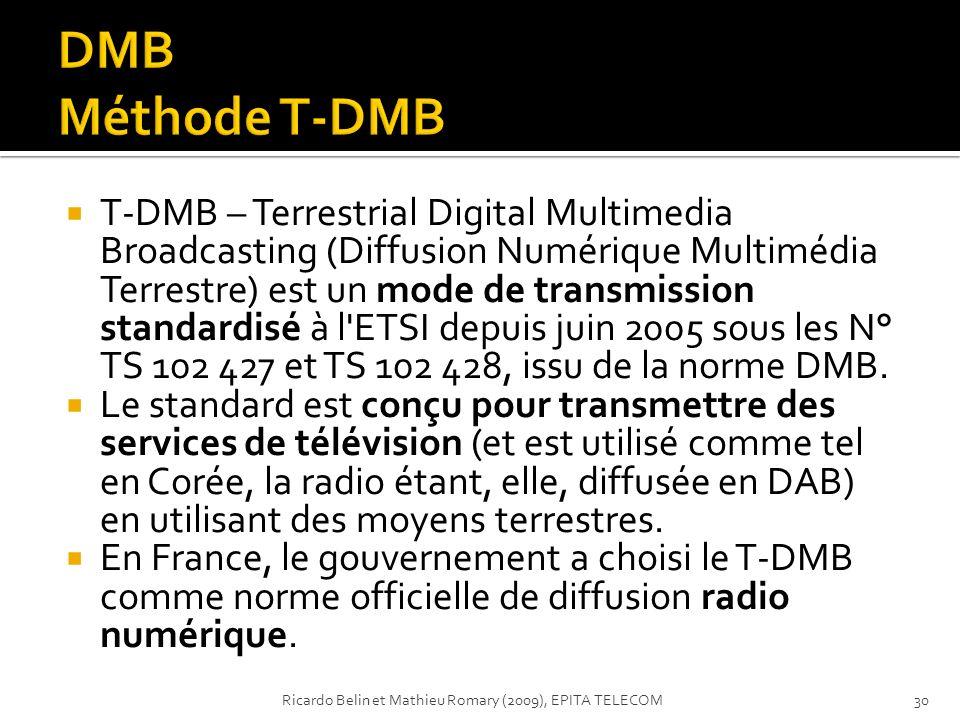 T-DMB – Terrestrial Digital Multimedia Broadcasting (Diffusion Numérique Multimédia Terrestre) est un mode de transmission standardisé à l'ETSI depuis