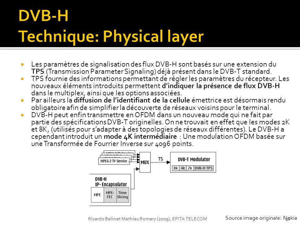 Les paramètres de signalisation des flux DVB-H sont basés sur une extension du TPS (Transmission Parameter Signaling) déjà présent dans le DVB-T stand