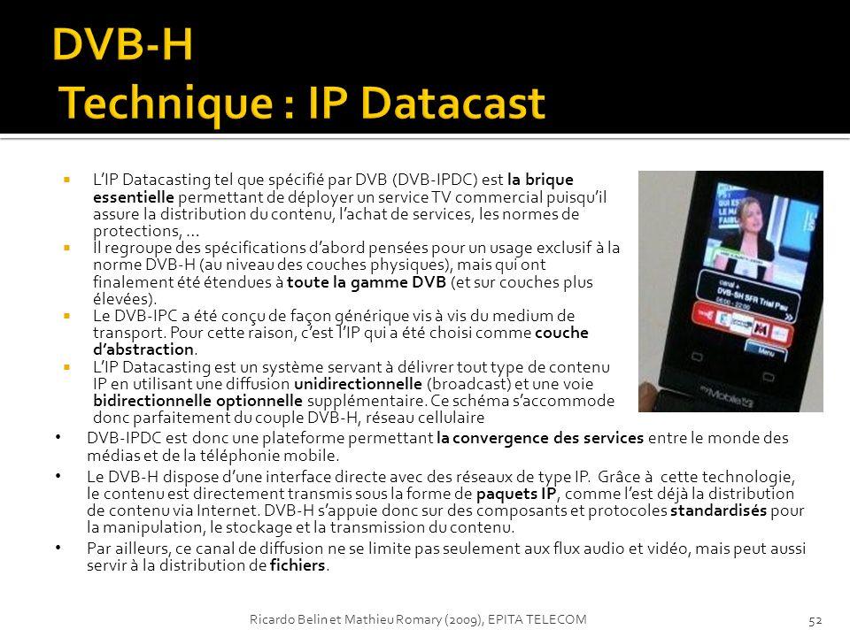 LIP Datacasting tel que spécifié par DVB (DVB-IPDC) est la brique essentielle permettant de déployer un service TV commercial puisquil assure la distr