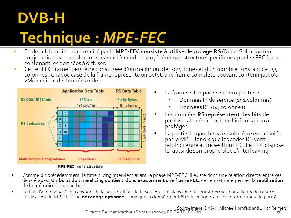 En détail, le traitement réalisé par le MPE-FEC consiste à utiliser le codage RS (Reed-Solomon) en conjonction avec un bloc interleaver. Lencodeur va